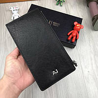 Кожаный кошелек Armani Jeans черный органайзер натуральная кожа мужской женский бумажник Армани люкс реплика