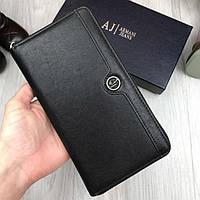 Классический кожаный кошелек Armani Jeans AJ черный клатч натуральная кожа мужской женский бумажник реплика