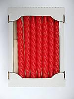 Свеча декоративная витая лаковая красная 25 см