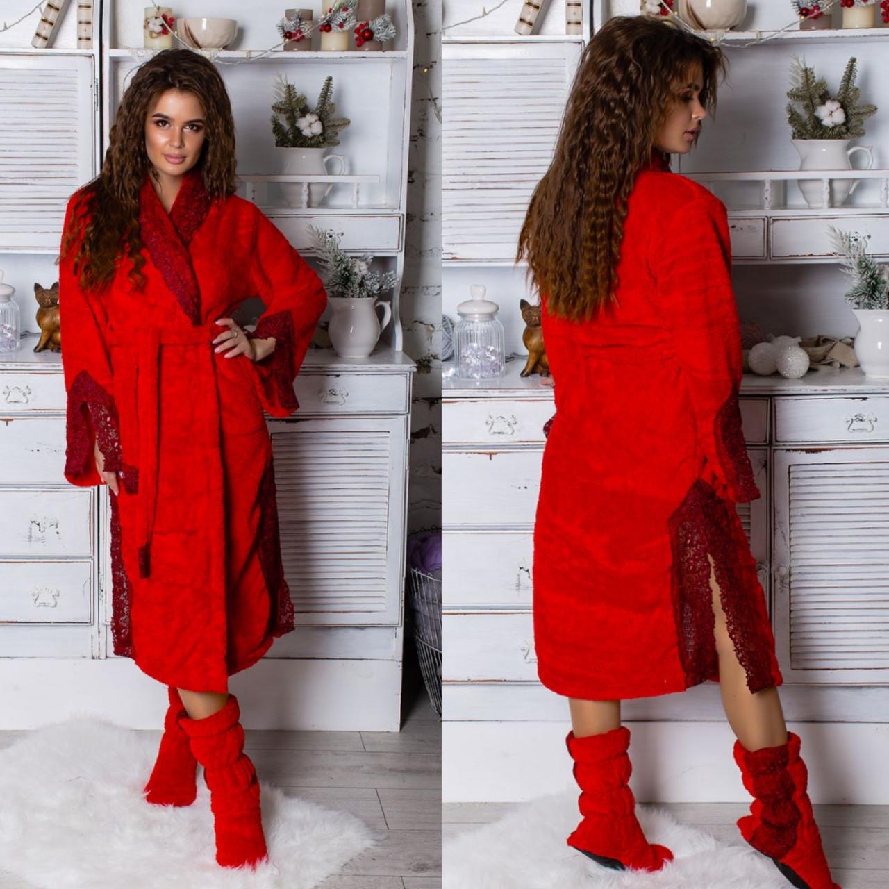 21a07de683eeb Шикарный халат с кружевами плюс махровые сапожки - Интернет-магазин  Selim-tekstil в Одессе