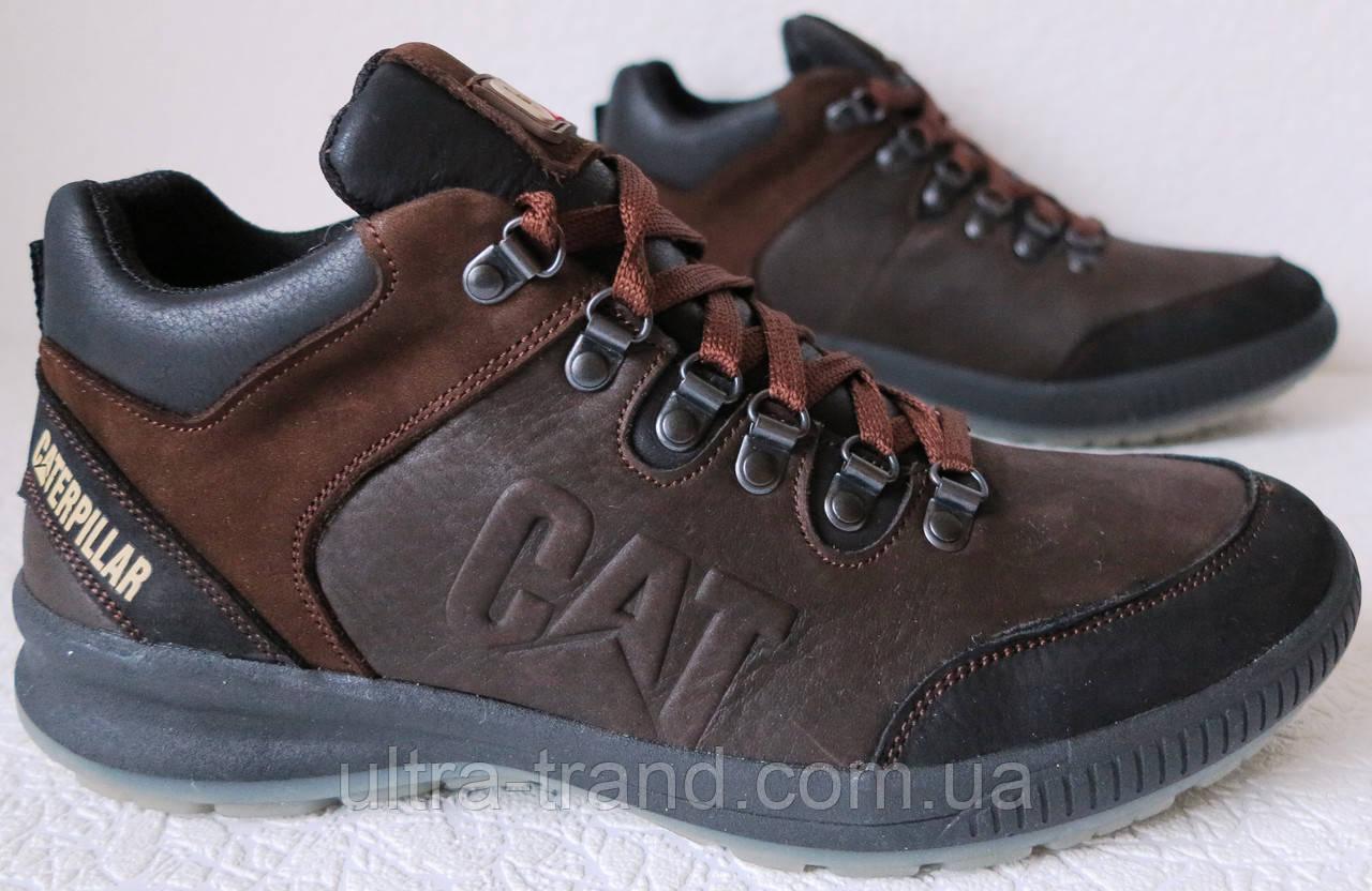 4f413d805 Кожаные мужские ботинки Caterpillar! Кроссовки коричневые с мехом в стиле  ...