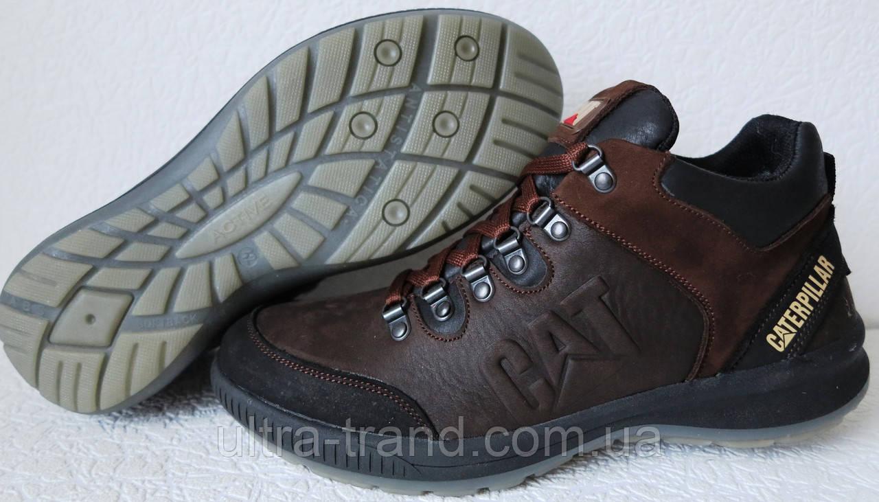 9ae2068f2 Кожаные мужские ботинки Caterpillar! Кроссовки коричневые с мехом в стиле  Катерпиллер .
