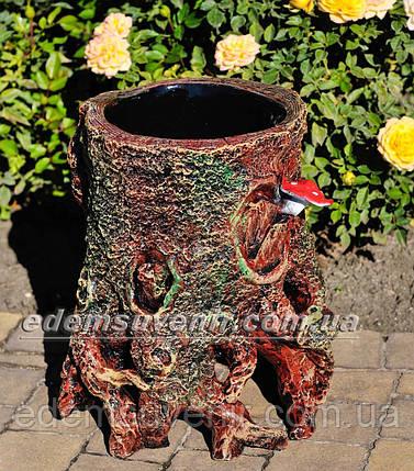 Подставка для цветов кашпо Пенек с грибами, фото 2