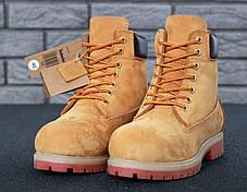 Мужские ботинки на натуральном меху Timberland рыжие топ реплика, фото 2