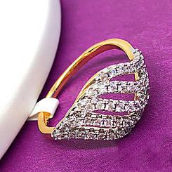 """Кольцо Xuping Jewelry """"Амелия"""", размер 17,5, медицинское золото, позолота 18К + родий. А/В 1680"""