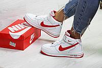 Зимние женские кроссовки в стиле Nike Air Force, белые (6670)