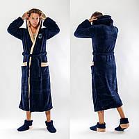 Мужской махровый халат с двойным капюшоном,Турция