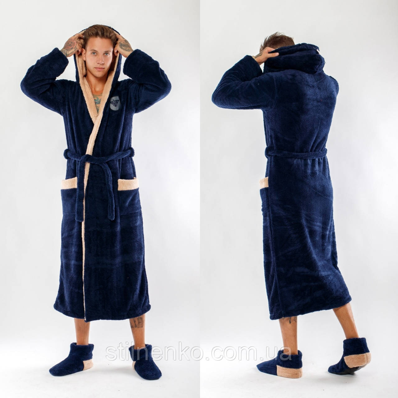 86f6c06bf42 Мужской махровый халат с двойным капюшоном