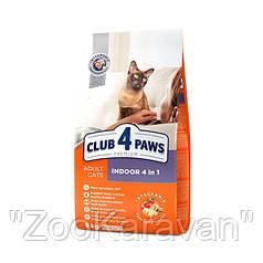 Сухой корм Клуб 4 лапы для домашних кошек всех пород, Indoo 4 в 1 14 кг