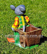 Подставка для цветов кашпо Мышь с тачкой, фото 3