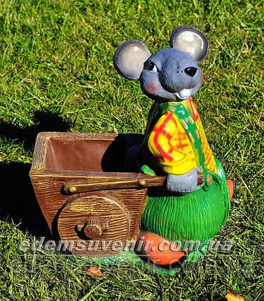 Подставка для цветов кашпо Мышь с тачкой, фото 2