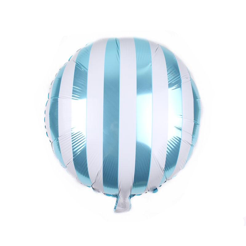 Фольгированный шар полосатый, голубой, 45*45 см