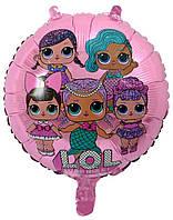 Фольгированный шарик с рисунком Lol розовый, 45*45 см