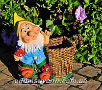 Подставка для цветов кашпо Гном грибник (М), фото 1