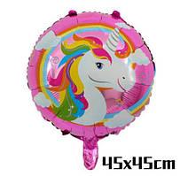 Фольгированный шарик с рисунком Единорог, 45*45 см