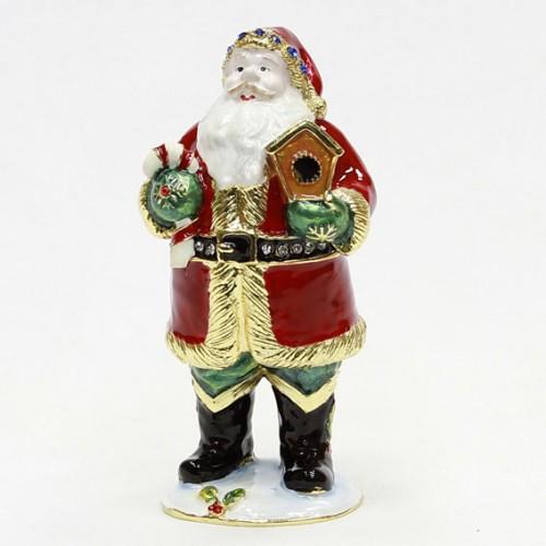 Металлическая шкатулка фигурка Дед мороз