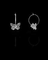 Серебряные сережки бабочка