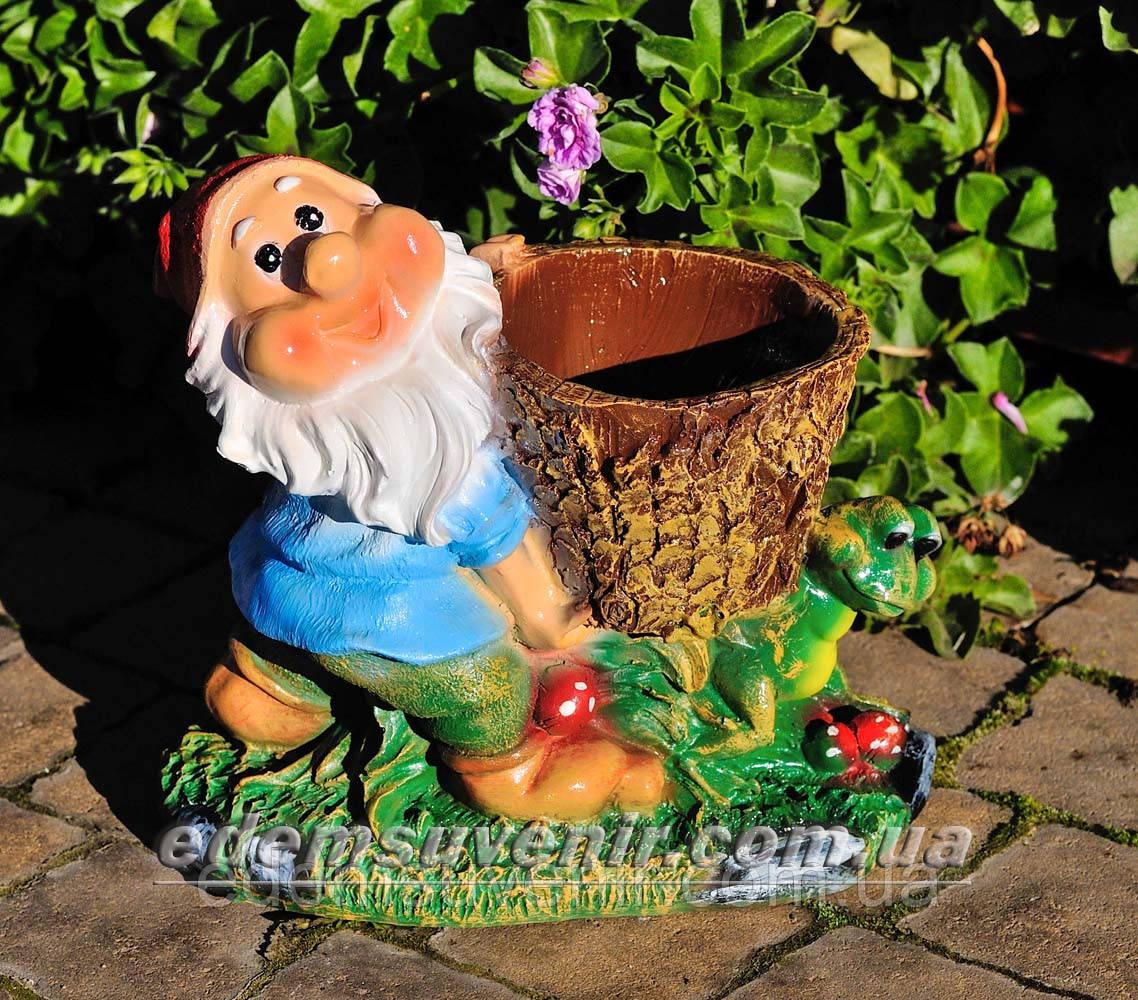 Подставка для цветов кашпо Гном с жабкой малый