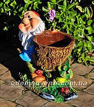 Подставка для цветов кашпо Гном с жабкой малый, фото 2