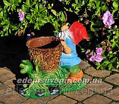 Подставка для цветов кашпо Гном с жабкой малый, фото 3