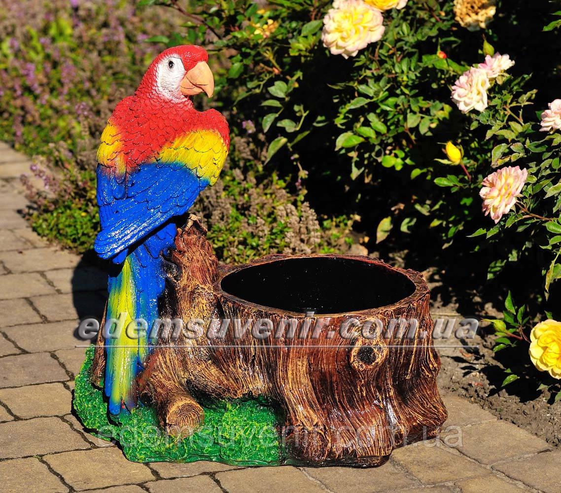 Подставка для цветов кашпо Пень с попугаем