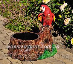 Подставка для цветов кашпо Пень с попугаем, фото 2