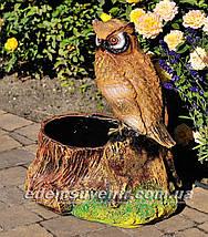 Подставка для цветов кашпо Пенек с совой, фото 2