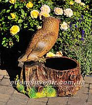 Подставка для цветов кашпо Пенек с совой, фото 3