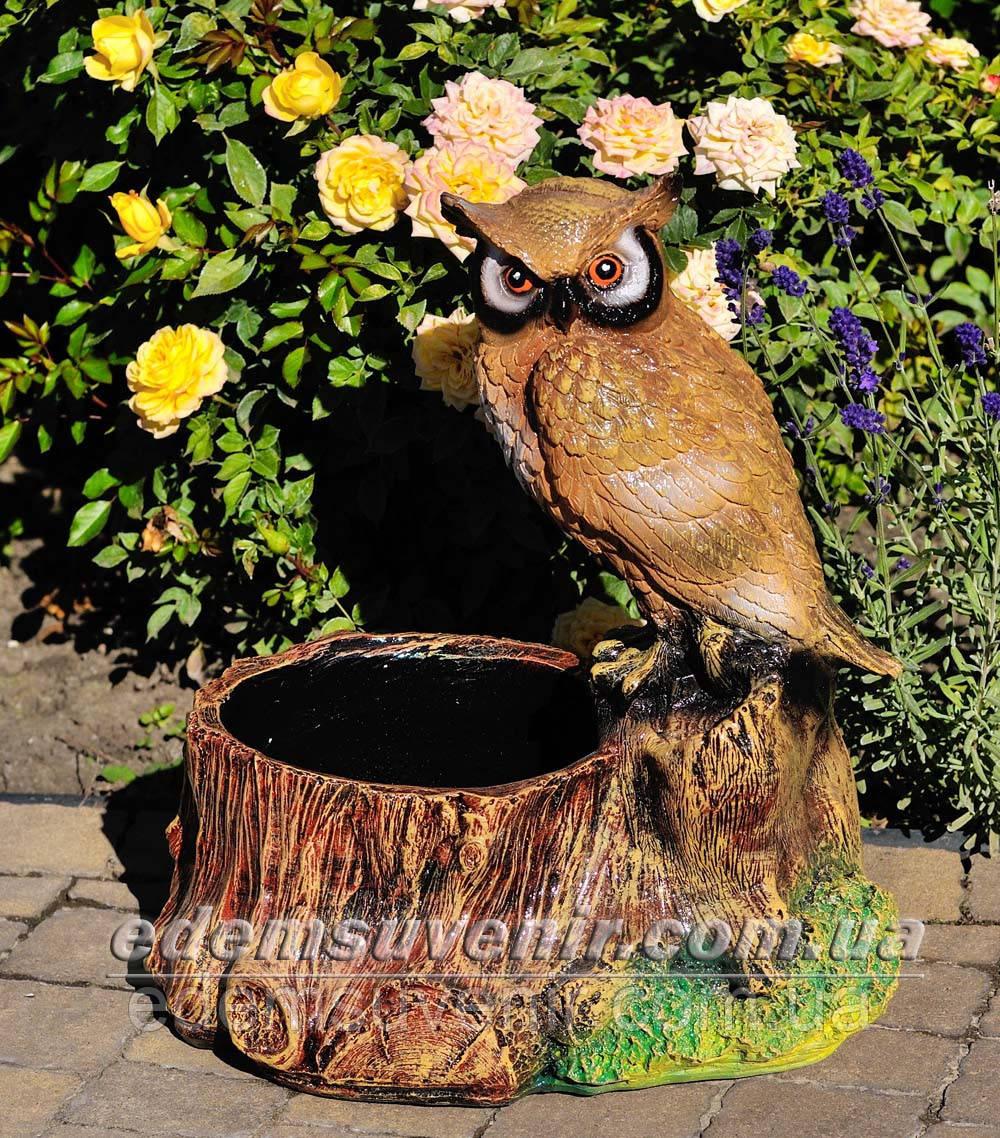 Подставка для цветов кашпо Пенек с совой