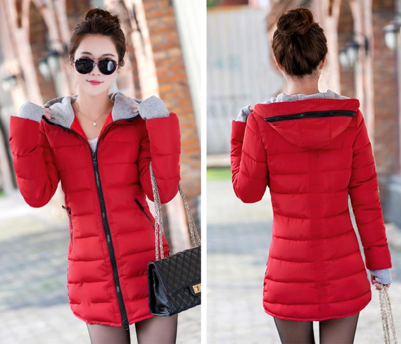 Красная зимняя удлиненная куртка пуховик