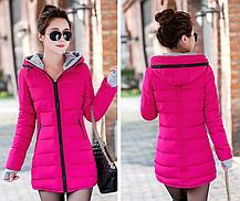 Красная зимняя удлиненная куртка пуховик, фото 2