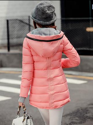 Женская розовая зимняя удлиненная теплая парка пуховик, фото 2