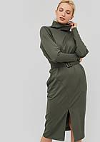 Женское трикотажное платье с поясом из основной ткани (Evilo crd)