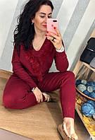 Кашемировый  марсаловый вязаный костюм, фото 1