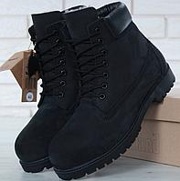 Мужские Зимние Ботинки Timberland BLACK, ботинки тимберленд чёрные с мехом,  реплика 5e98d2a67df