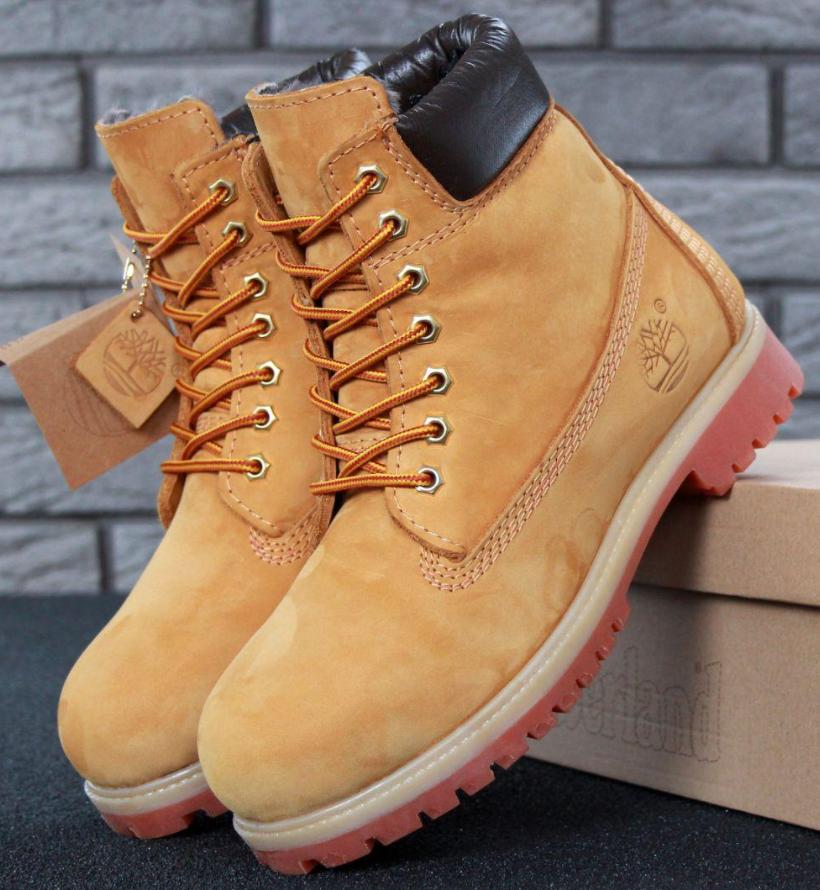Мужские Зимние ботинки Timberland 6 inch Yellow (Тимберленд) с натуральным мехом