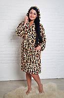 Халат средней длины леопард. Турция