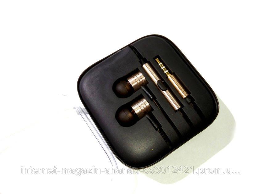 Вакуумные алюминиевые наушники с микрофоном ЗОЛОТО