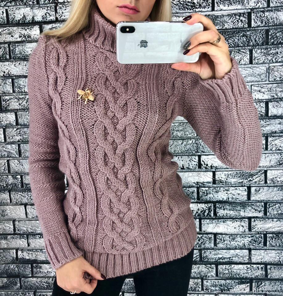 осень 2018 теплый и модный женский вязаный свитер с высоким