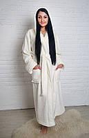Халат Махровый Женский Однотонный длинный. Турция, фото 1