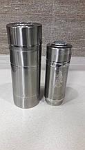 Термос глянцевый для горячих и холодных напитков 2 в 1 Серебристый 1л
