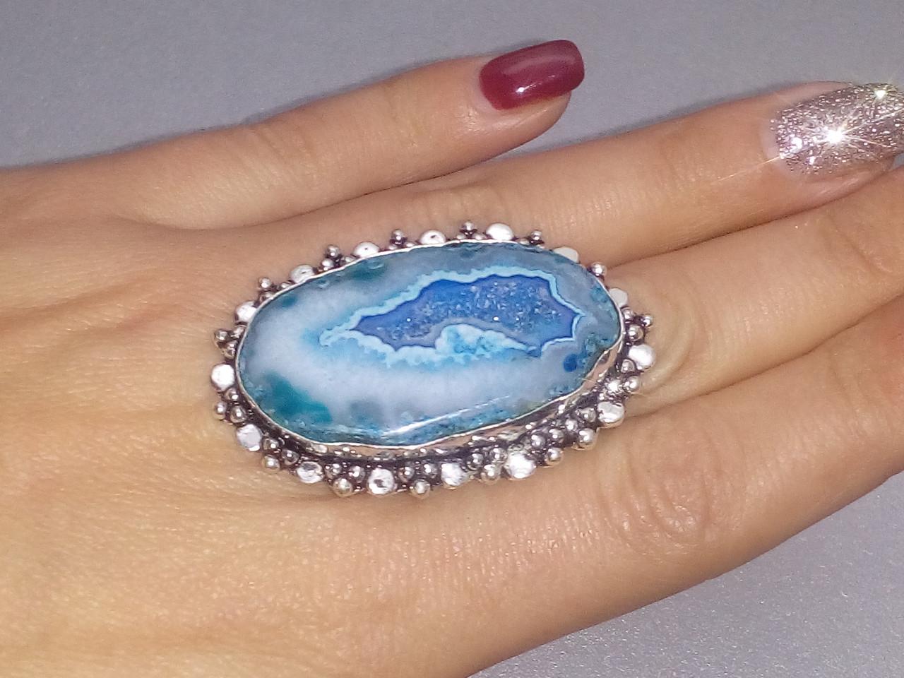 Натуральная жеода агата кольцо с натуральным камнем жеода агата в серебре. Кольцо с агатом 18,5-19 Индия