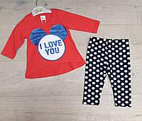 Комплект на девочку (лосины+кофта), трикотаж, размер 9-24 месяца, красный