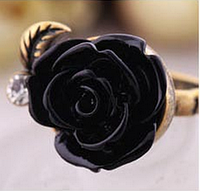 Хит продаж! Модное женское кольцо в ретро-стиле Роза, цвет - черный