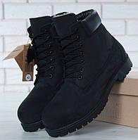 Зимние мужские ботинки Timberland classic 6 inch black с натуральным мехом (Реплика ААА+)