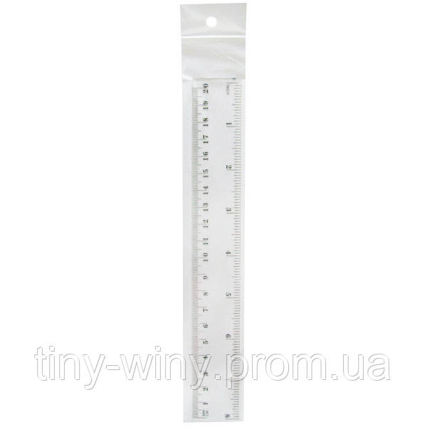 3481-20 Линейка пластиковая, 20 см, прозрачная