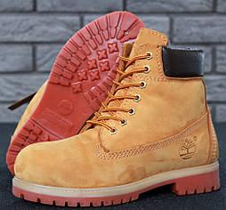 Зимние мужские ботинки Timberland classic 6 inch Yellow с натуральным мехом. Живое фото (Реплика ААА+)