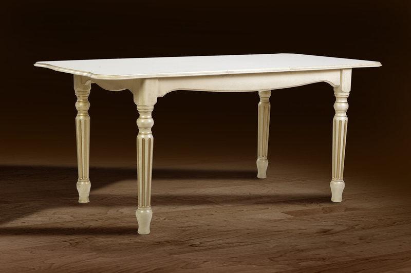 Стол обеденный Венеция  120-160 см (слоновая кость+патина)