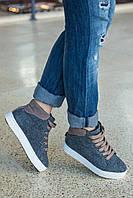 Високі кеди Kelly на шнурівці, повсть з кольоровими вставками, утеплювач хутро, фото 1