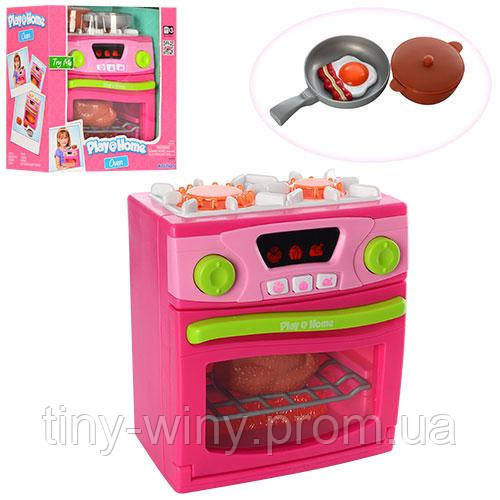 Бытовая техника 21675 (12шт) плита18см,звук,свет,посуда,продукты,на бат-ке,в кор-ке,23,5-25-13см
